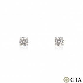 Platinum Round Brilliant Cut Diamond Earrings 3.01ct TDW